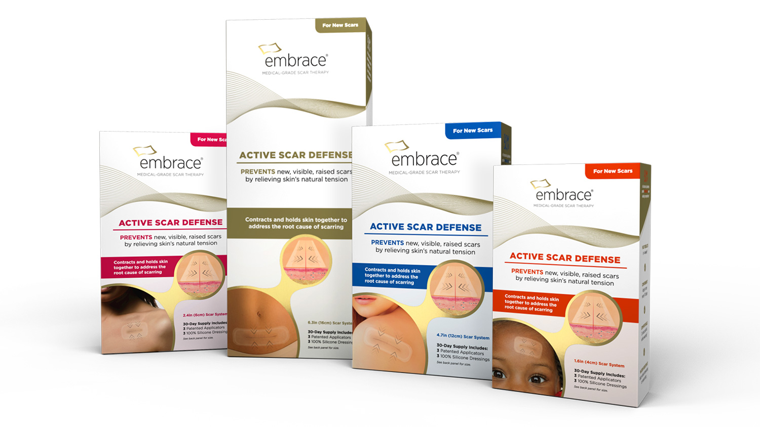embrace scar therapy. embrace® active scar defense product line. embrace therapy e